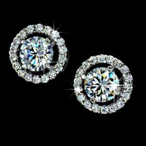 Halo .75ct CZ Diamond White Gold Stud Earrings